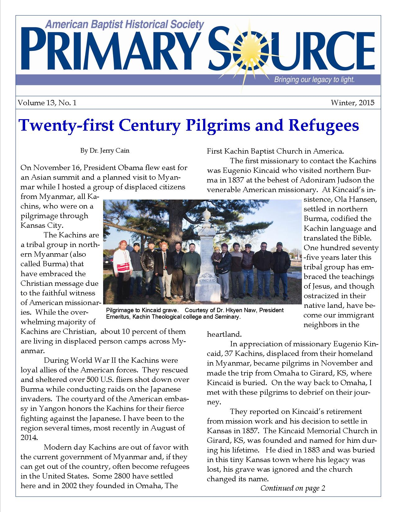 Front Page ABHS Primary Source Newsletter; Vol. 13 issue 1; Winter 2015